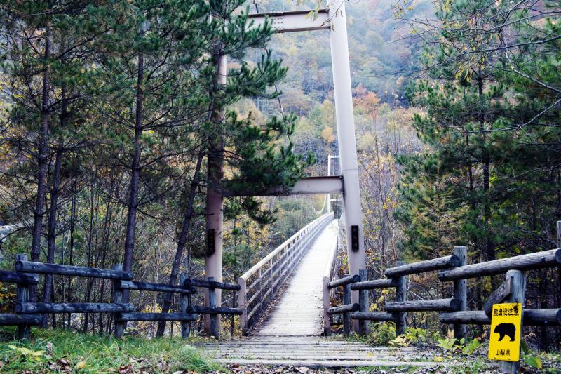 [ 石空川の吊橋 ]  長い吊橋を渡ってスタートします