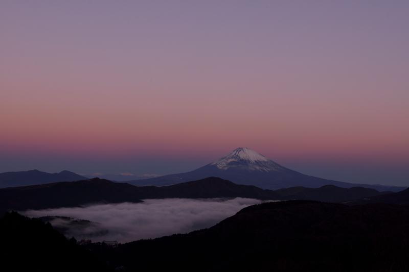 [ 静かな夜明け ]  ピンクと紫の空に浮かぶ富士山