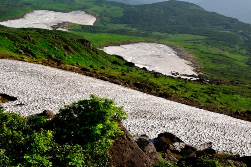 3つの雪渓 No2 雪渓と緑が美しい