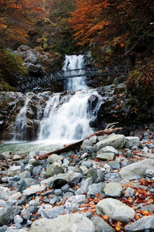 [ 一の滝・二の滝と河原 ]  滝の右側には柱状節理が見えます