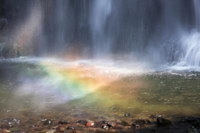 虹の滝つぼ| 滝つぼに虹がかかりました。
