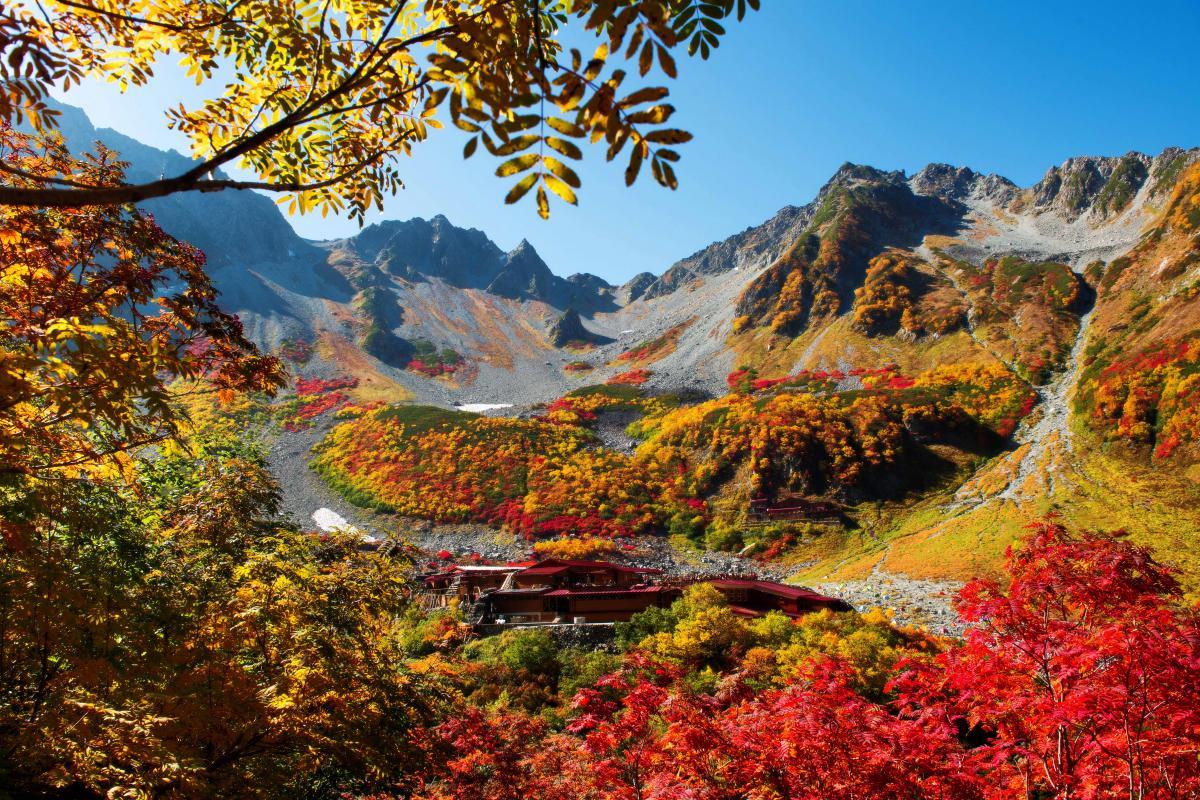 涸沢 パノラマコースからの紅葉 登山道の途中からカールを一望できます。