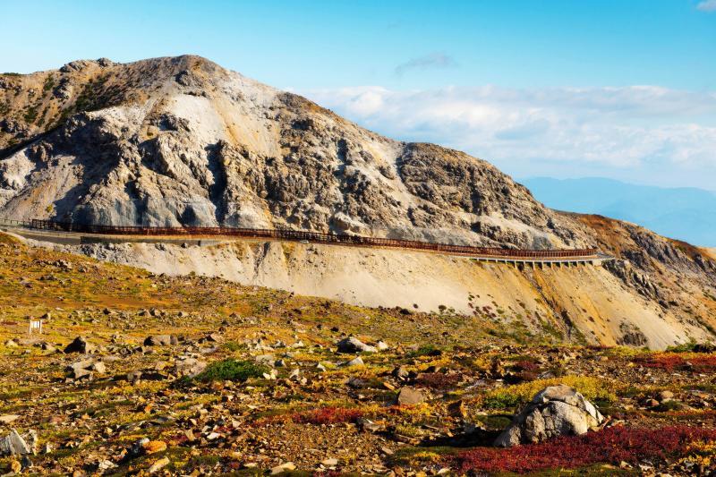 [ 荒涼とした別世界 ]  火山で荒れた岩山とスカイライン