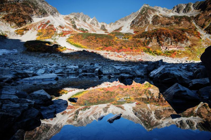 [ 水面に映る穂高の山々 ]  涸沢ヒュッテ裏の池にて