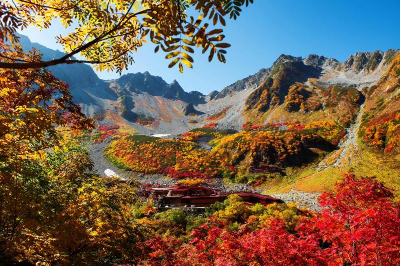 [ 涸沢 パノラマコースからの紅葉 ]  登山道の途中からカールを一望できます。