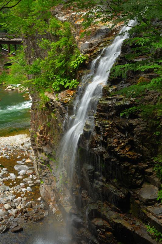 [ 断崖から飛び出す滝 ]  虹見の滝は岩壁から飛び出すような立体的な形をしています。反対側の橋の上からも滝を眺めることができます。