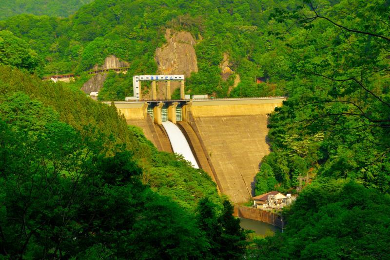 [ 藤原ダム堤 ]  新緑に包まれたダムからは水が放流され、白い布のように見えます。