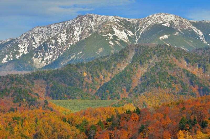 [ 冠雪した尾瀬の山々 ]  ならまた湖畔は燃えるような紅葉に包まれ、その奥には冠雪した雄大な尾瀬の峰々が見えます。