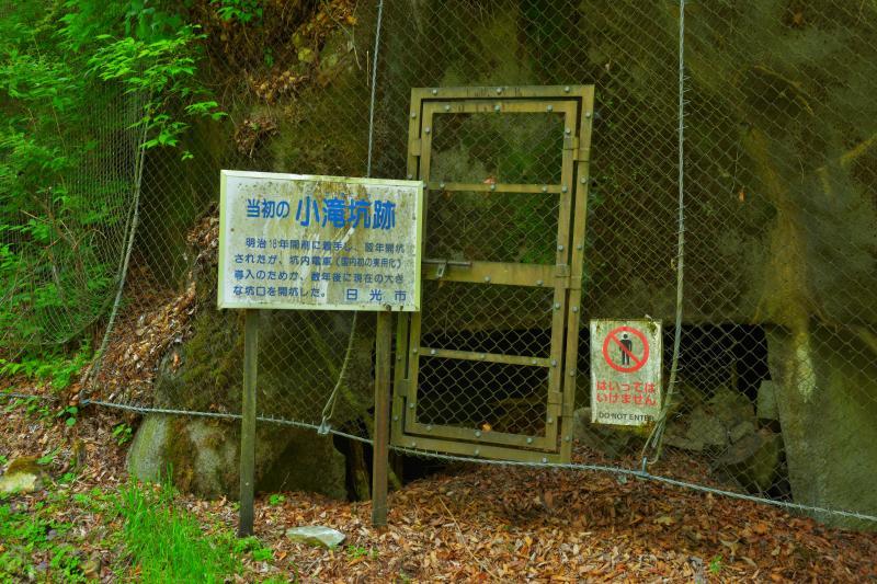 [ 小滝坑跡 ]  明治18年に作られた坑道跡。