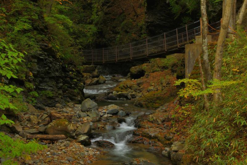 [ 竜化の滝・遊歩道の吊り橋 ]  静かな流れの先には吊り橋が架けられています。