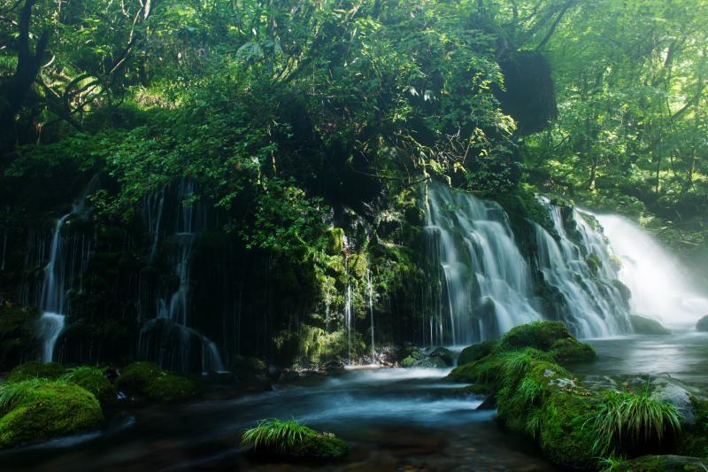 [ 鳥海山の恵み ]  岩盤から大量の伏流水が流れ落ちる