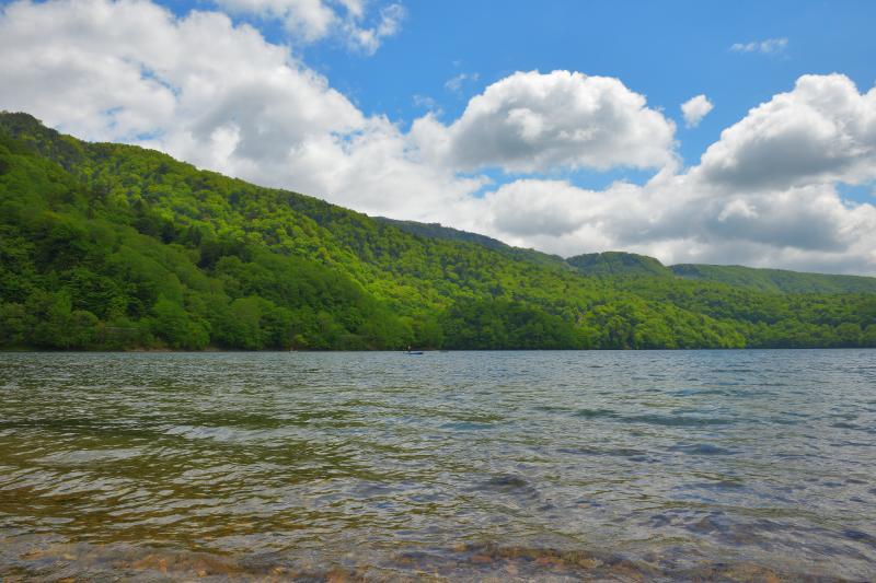 [ 夏雲湧く ]  山の方から雲が湧き出してきました。水が澄んでいて、高原の雰囲気を満喫できる場所です。