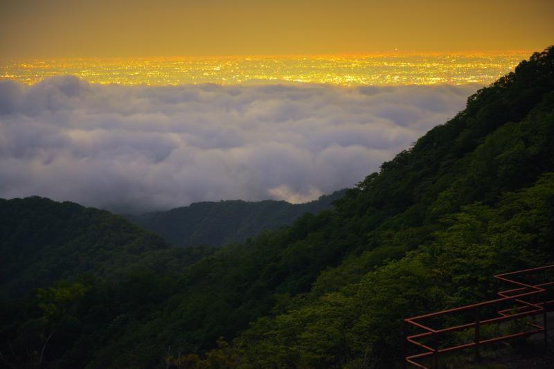 [ 雲海に浮かぶ街明かり ]  雲海の奥には関東の街明かりが。鳥居峠は雲海と大夜景を見ることができるスポットです。