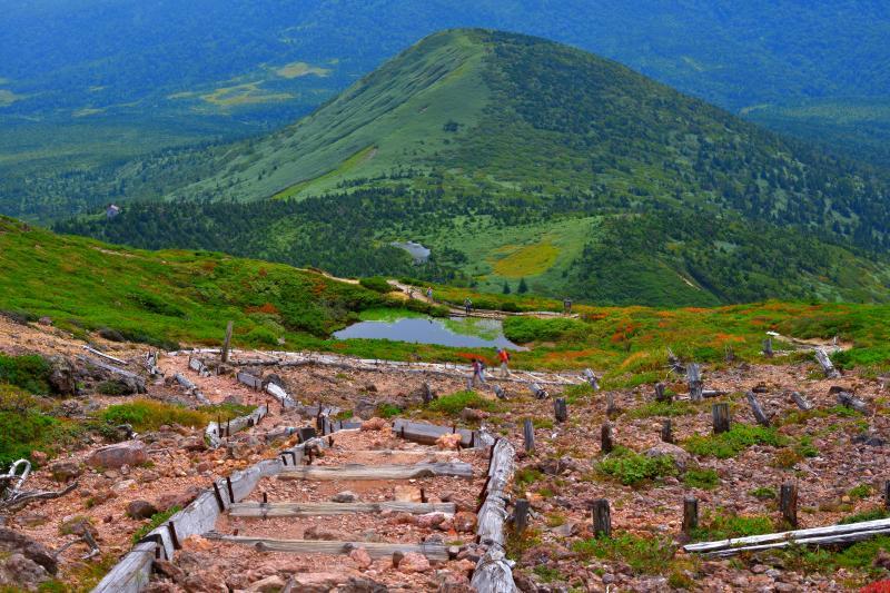 [ 天空の箱庭 ]  登山道の途中には池があり、その奥には八甲田連峰の大パノラマが広がっています。