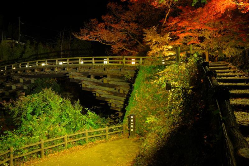 [ 猿橋ライトアップ ]  ライトアップされた猿橋。歴史ある建造物と紅葉。