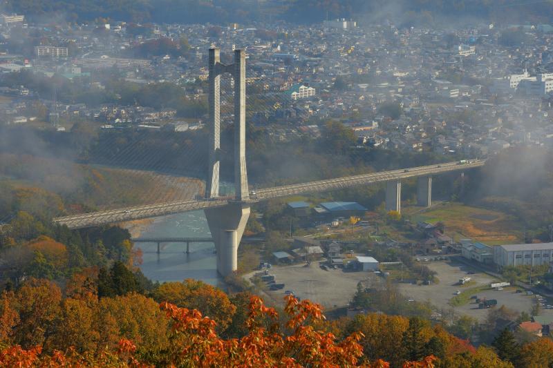 [ 秩父ハープ橋と街並み ]  少し前まで雲海に包まれていたハープ橋。秋色に染まる秩父の美しい街並みが広がります。