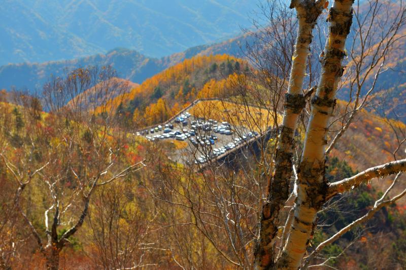 [ 展望台登山道から ]  半月山第二駐車場から中禅寺湖・男体山の見える展望台まで登ります。あっという間に駐車場が小さく見えるようになりました。