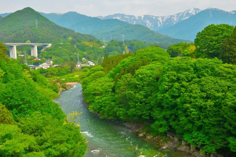 [ 新緑に包まれる利根川と残雪の谷川岳 ]  諏訪峡大橋からは利根川と谷川岳を一望できます。諏訪峡には遊歩道が整備されており、道の駅から気軽に散策を楽しむことができます。