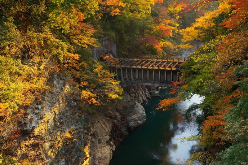 [ 猿橋からの眺望 ]  古い水道橋と奥には赤い新しい橋が。橋を通して時代を感じることができる場所。