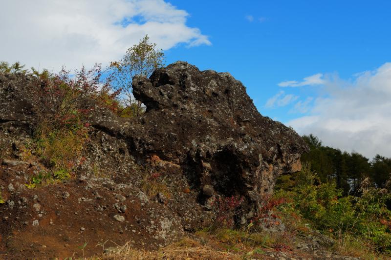 [ 青空を駆ける獅子 ]  平沢峠駐車場の奥にある獅子岩。八ヶ岳の眺望を楽しめる場所です。