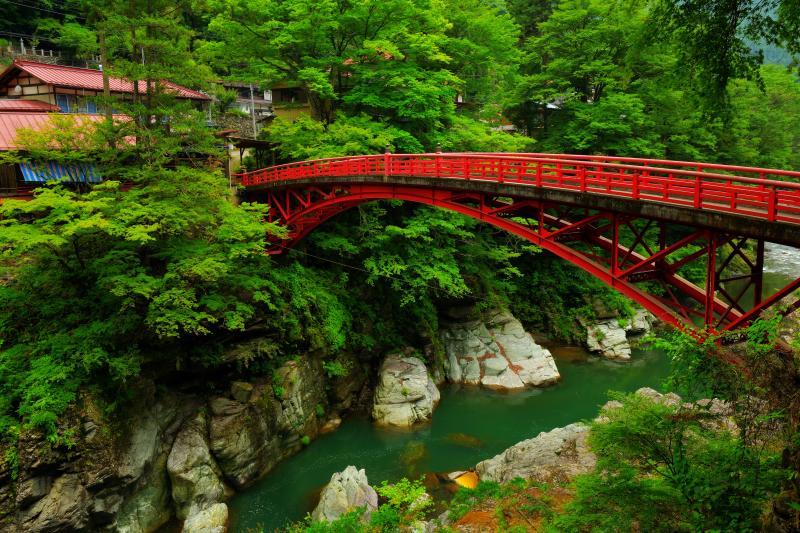 登竜橋 | 深い谷に架けられている真っ赤な橋。橋を渡って竜門の滝へ向かう途中で撮影。