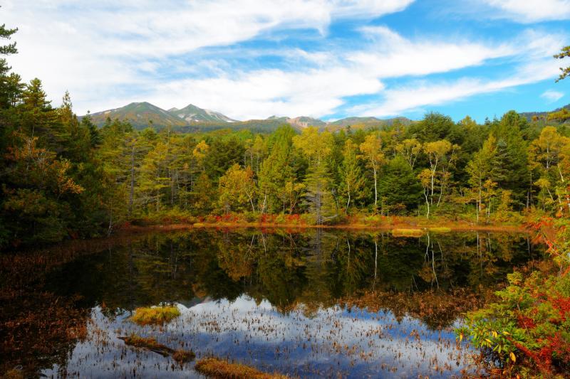 牛留池 紅葉 | 森の中の遊歩道を歩くこと300mほどで神秘的な池が現れます。風が無く、乗鞍岳や周囲の紅葉した木々が水面に映り込んでいました。