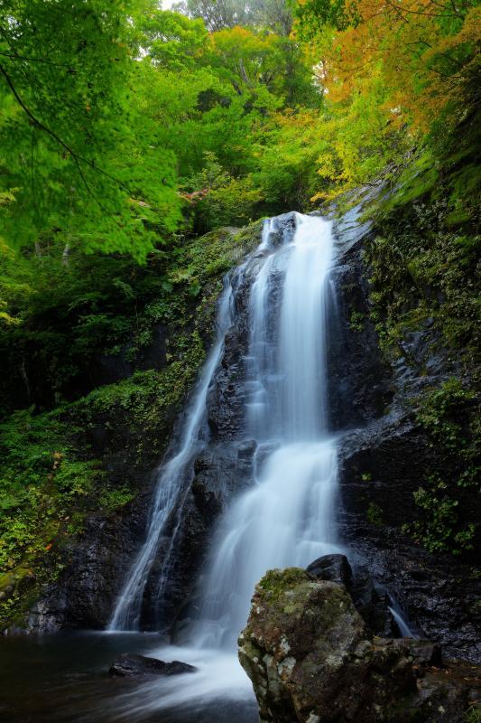 [ 王滝 ]  宇津江四十八滝最大の大滝。初秋の風景。白い布のような美しい流れ。
