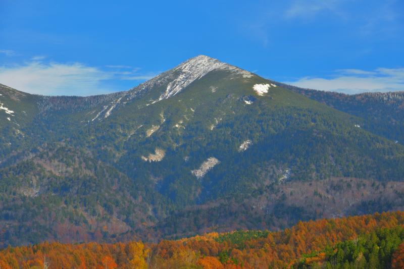 [ 冠雪と紅葉 ]  前日の冷え込みで山頂付近が冠雪し、青空・雪・紅葉のコントラストがとても綺麗でした。