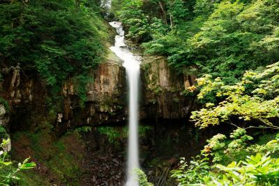 美しき直瀑| 縦模様の美しい岩盤と一筋の流れ