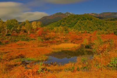 月光 乗鞍岳シンメトリー| 月明かりに照らされた偲ぶの池に乗鞍岳が映り込んでいます。錦秋の一の瀬園地の夜は幻想的で、日中とは違った世界が広がっていました。
