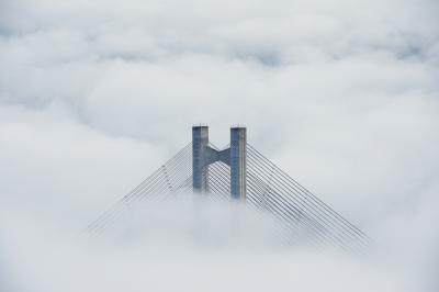 ミューズパーク雲海| 太陽が昇り気温が上がってくると、雲海に埋まっていたハープ橋が姿を現します。