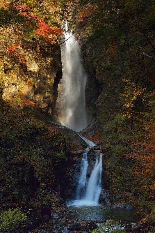 [ 紅葉の大滝 ]  斜光が入り、少しだけ虹が出ました。渓谷全体が美しい紅葉に包まれていました。