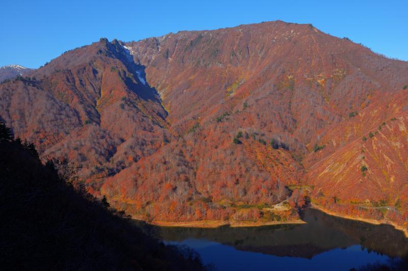 [ 紅葉で染まる山 ]  樹海ラインの高台から奥只見湖と対岸の山を望む。全山紅葉で山全体が色付いていました。