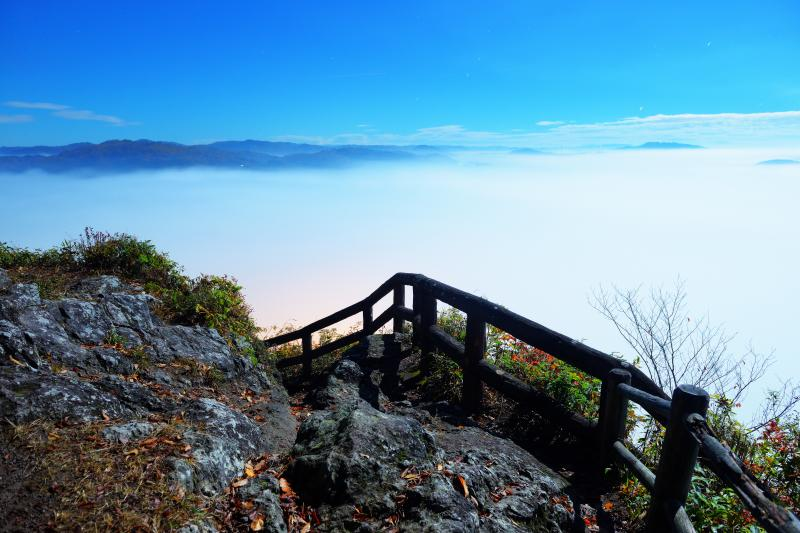 [ 鎌倉山雲海テラス ]  日没後の大雲海。月に照らされた雲海は幻想的でした。誰もいなかったので展望台と雲海の写真を撮影してみました。岩のメタリック感が良い感じになりました。