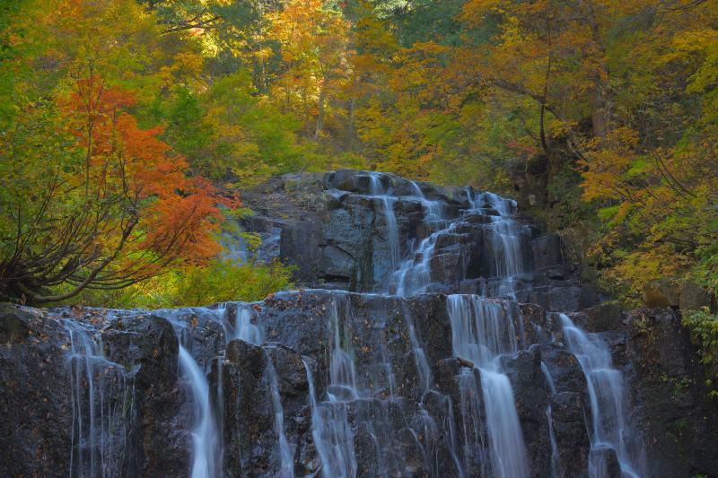 [ 錦秋 二の滝 ]  紅葉に囲まれた岩から複雑に流れ落ちる水。滝つぼまで寄って撮影することができます。