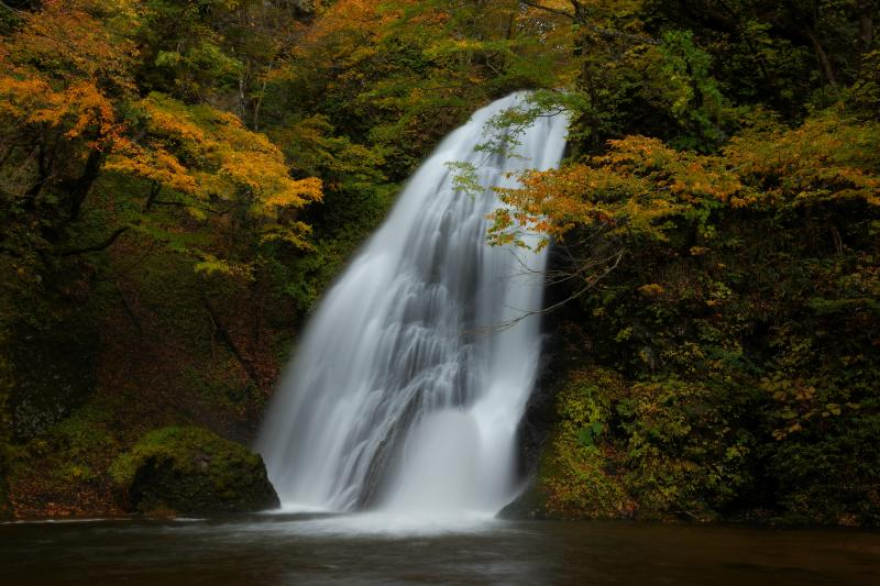 峨瓏の滝の紅葉| 落差12mほどの小さな滝ですが、斜めに勢い良く落ちてくる水が印象的で存在感がありました。
