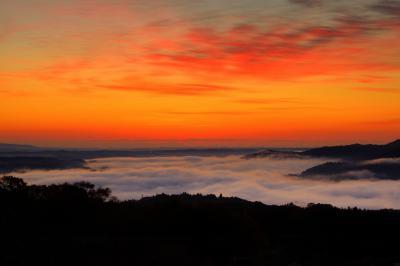 グラデーションの空と雲海| 太陽が顔を出す少し前、空の雲が美しく朝焼けしました。遠くには工場の鉄塔や煙突が見えます。