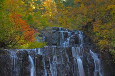 錦秋 二の滝  紅葉に囲まれた岩から複雑に流れ落ちる水。滝つぼまで寄って撮影することができます。