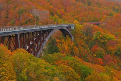 城ヶ倉大橋紅葉| 紅葉がピークになった城ヶ倉大橋。上路式アーチ橋としては日本一の規模を誇る、八甲田を代表するビュースポット。