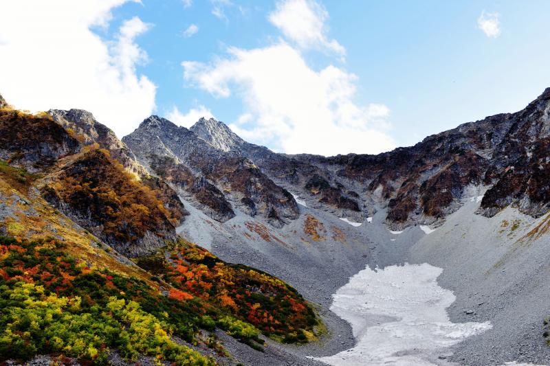[ 吊尾根と雪渓 ]  吊尾根のラインが綺麗です。