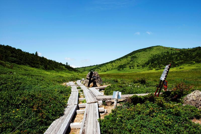[ 登山道への分岐 ]  ここを右に曲がると避難小屋です