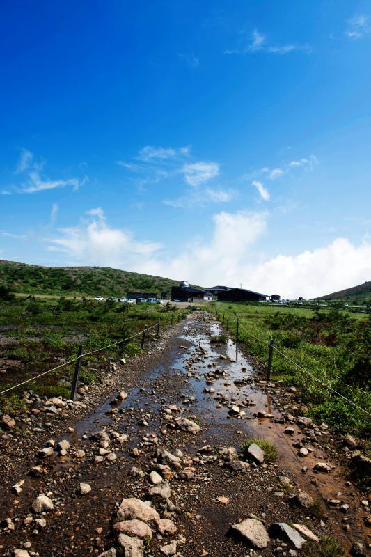 [ 湿原の一本道 ]  浄土平湿原の中を歩いていきます