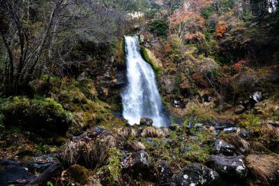夕暮れの尾の島の滝| 水量豊富な滝です。