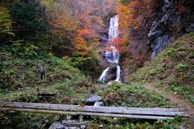 滝の前で| 左岸・右岸共に楽しむことができます