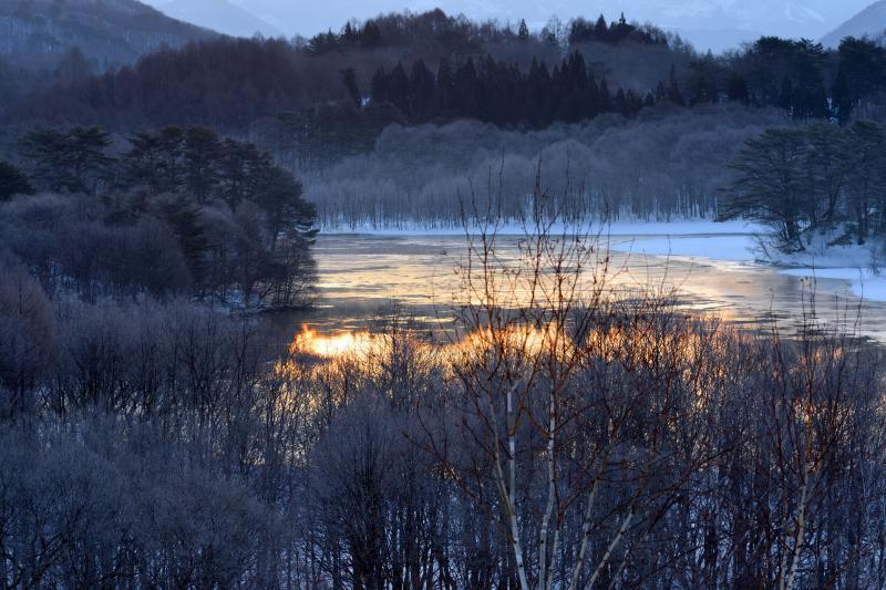 [ 霧氷と朝焼け ]  湖畔の木々の霧氷が美しい