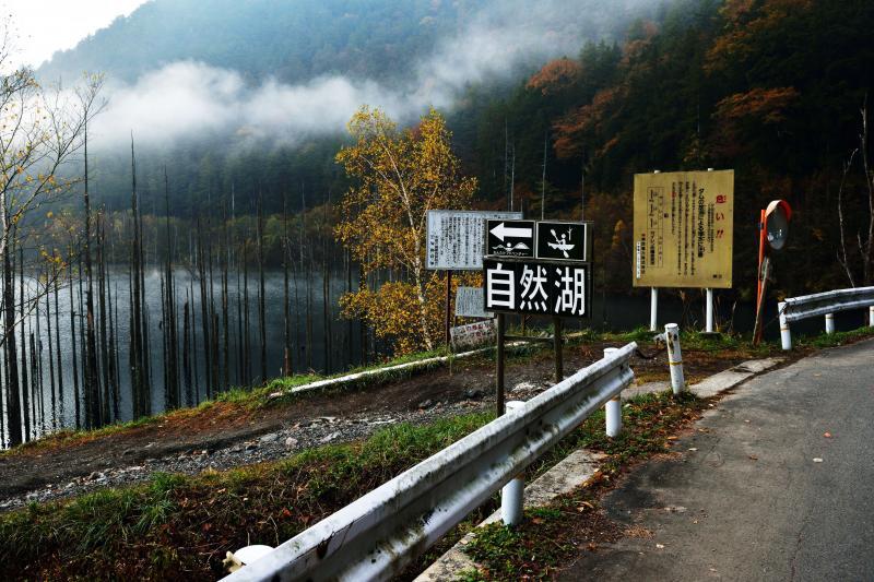 [ 自然湖の案内板 ]  自然湖の入口です。