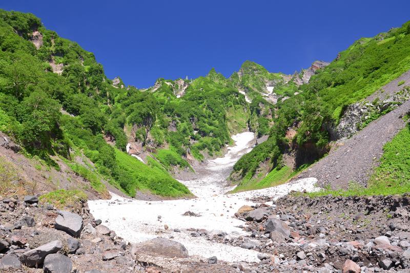 [ 大空沢 ]  旧登山道のある鬼脇の大空沢。利尻岳の複雑で荒々しい地形が際立つ。雪渓と新緑の美しい沢。
