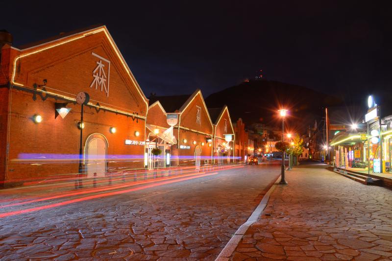 [ 赤れんが倉庫群 ]  石畳の道路に面したレンガ造りの倉庫群がベイエリアの顔となっています。