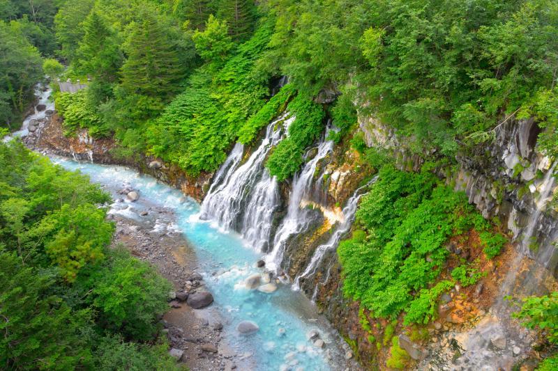 [ 白ひげの滝全景 ]  白金温泉から程近い所にあります。