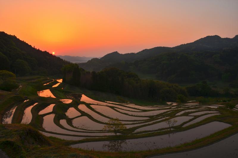 [ 棚田の夜明け ]  朝日が入る時間帯も綺麗です。
